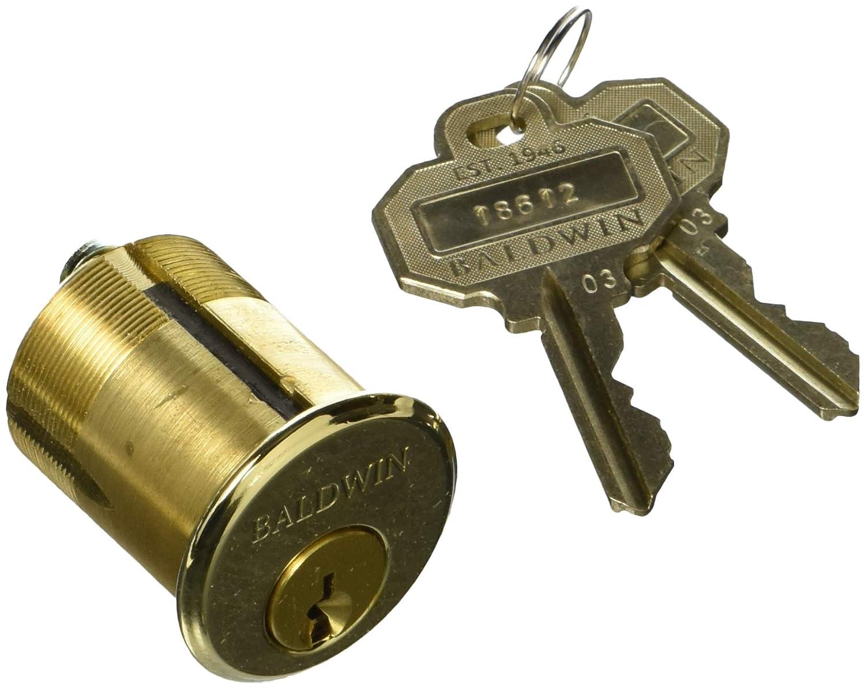 "Baldwin 8325.003 Mortise Lock Cylinder 1-1/2"" Diameter, Lifetime Brass"