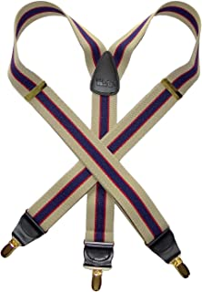 product image for Striped Series Holdup Khaki and Navy Striped Y-back Suspenders with Patented No-slip Gold Tone Clips