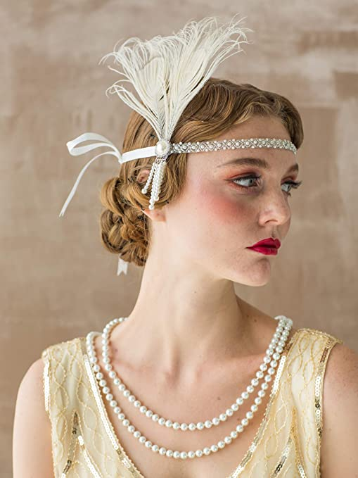 1920s Hairstyles History- Long Hair to Bobbed Hair SWEETV Flapper Headbands 1920s Womens Peacock Headband Great Gatsby Inspired Crystal Headband for Bride Feather Headband Onesize Ivory $13.99 AT vintagedancer.com