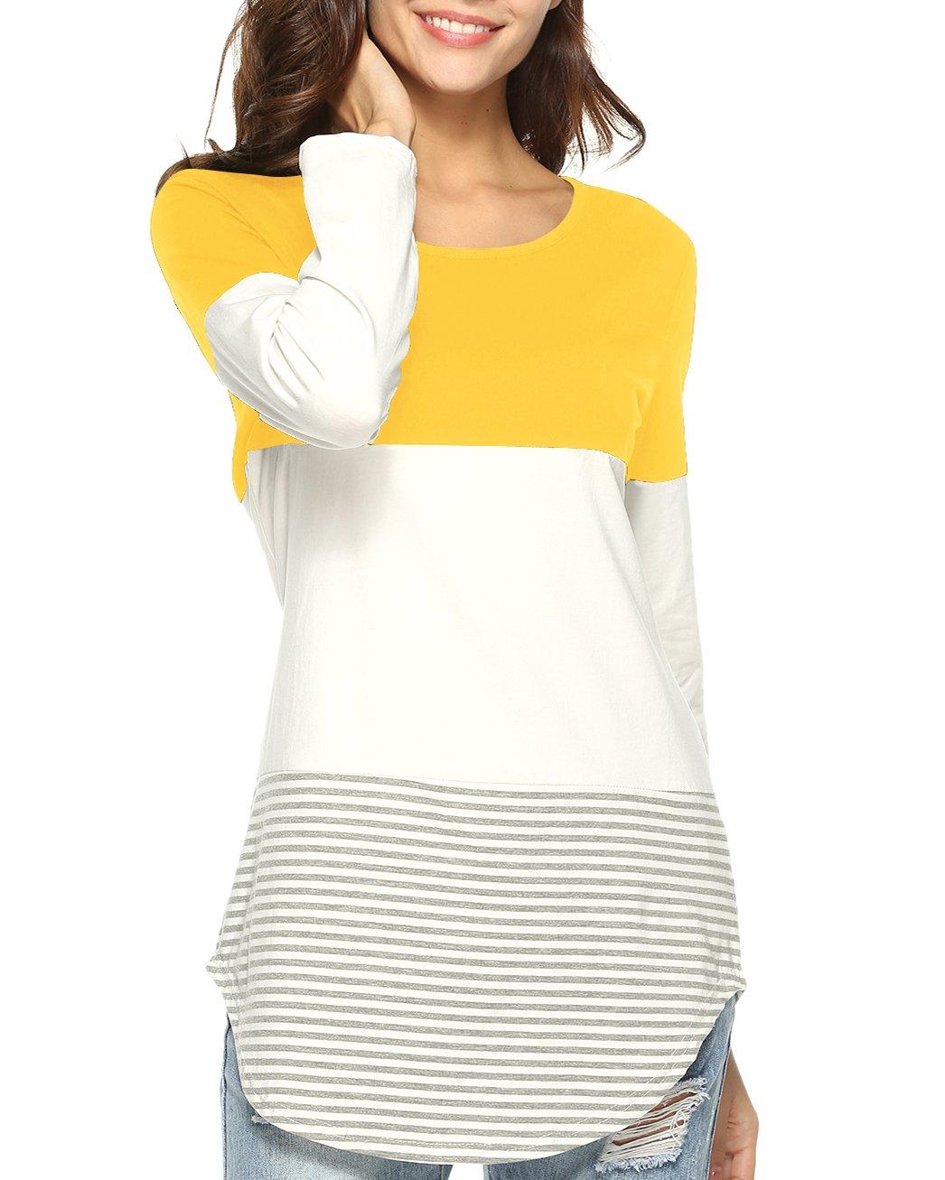 Aliex Women's Tunic Top Casual Long Sleeve T-Shirt Color Block Yellow XL