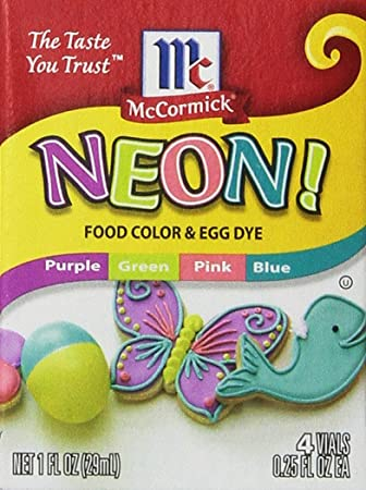 Amazon.com : Neon Purple Green Pink Blue 4-pack Food Color ...