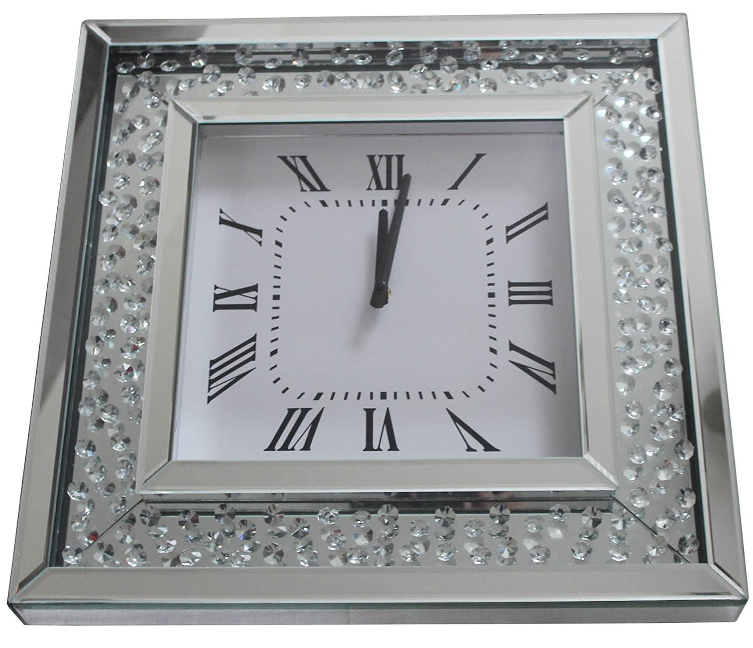 Crystal Decor Square Mirror Glass Analogue Wall Clock featuring