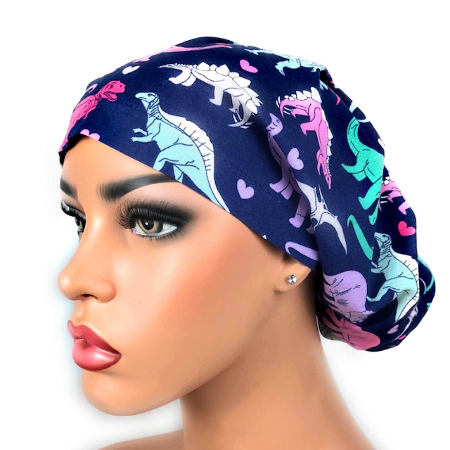 Womens Surgical Scrub Hat OR Nurse Cap Euro Style Girl Dinosaurs and Hearts Bouffant Cap by DK Scrub Hats