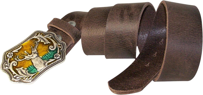 Oktoberfest belt FRONHOFER full-grain leather multi-color enamel stag buckle