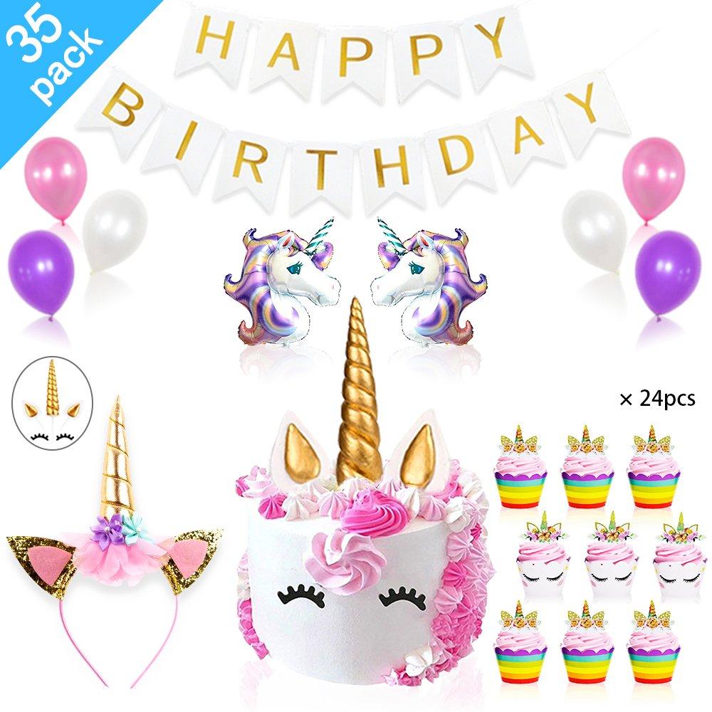 Daisyformals Unicorn Party Supplies Decorations with Unicorn Cake Topper,Unicorn Headband,24 Pcs Unicorn Cupcake Toppers Wrappers and Happy Birthday Banner + Unicorn Balloons Party Ballons (35 Packs) by DaisyFormals