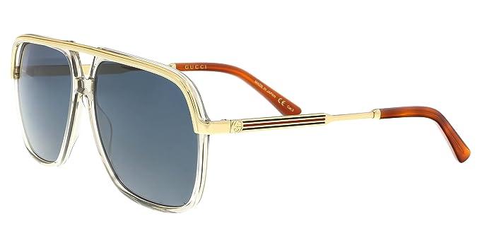 Gucci Unisex-Erwachsene Sonnenbrille GG0200S 005, Gelb (5/Light-Bluee), 57