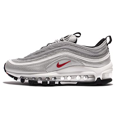 Nike Women's W Air Max 97 OG QS, METALLIC SLIVER/VARSITY RED, ...