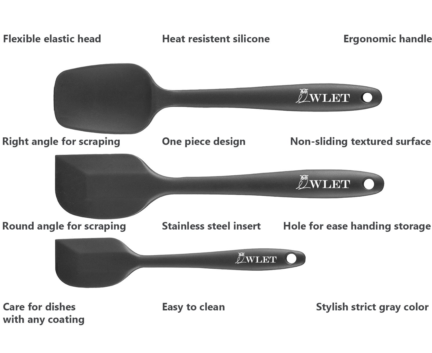 Non-stick Cooking Scrapers-safe Flexible Rubber Small Large Spatula 3-Piece Set Silicone Spatula Spoon Baking Spoon Stainless Steel Insert Spatulas Silicone Heat-resistant Gray Black OWLET OT-100-12192