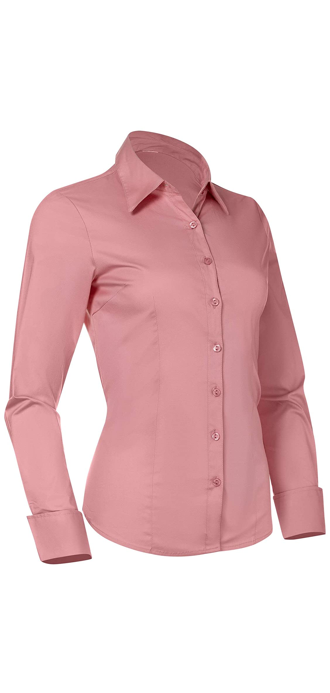 Button Down Shirts For Women, Fitted Long Sleeve Work