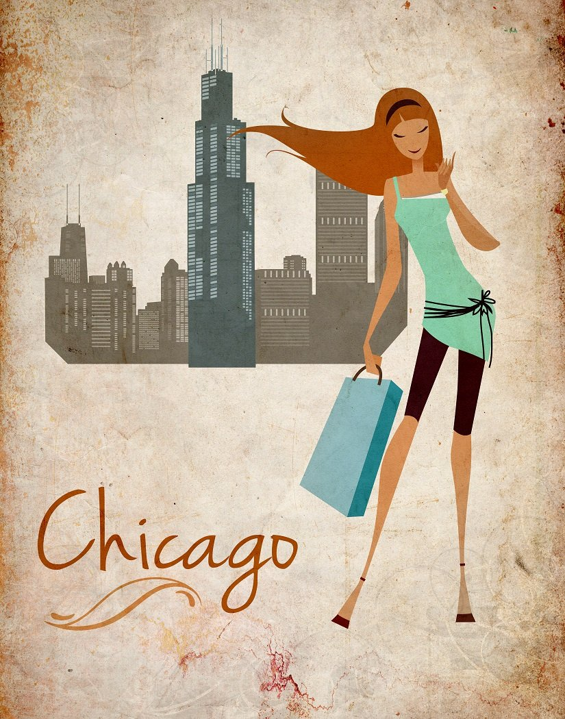 wallsthatspeak Travel Fashion Posters Girls Room Decor Chicago New York San Francisco Los Angeles Set of 4 Unframed 8x10 inch Wall Decor Art Prints