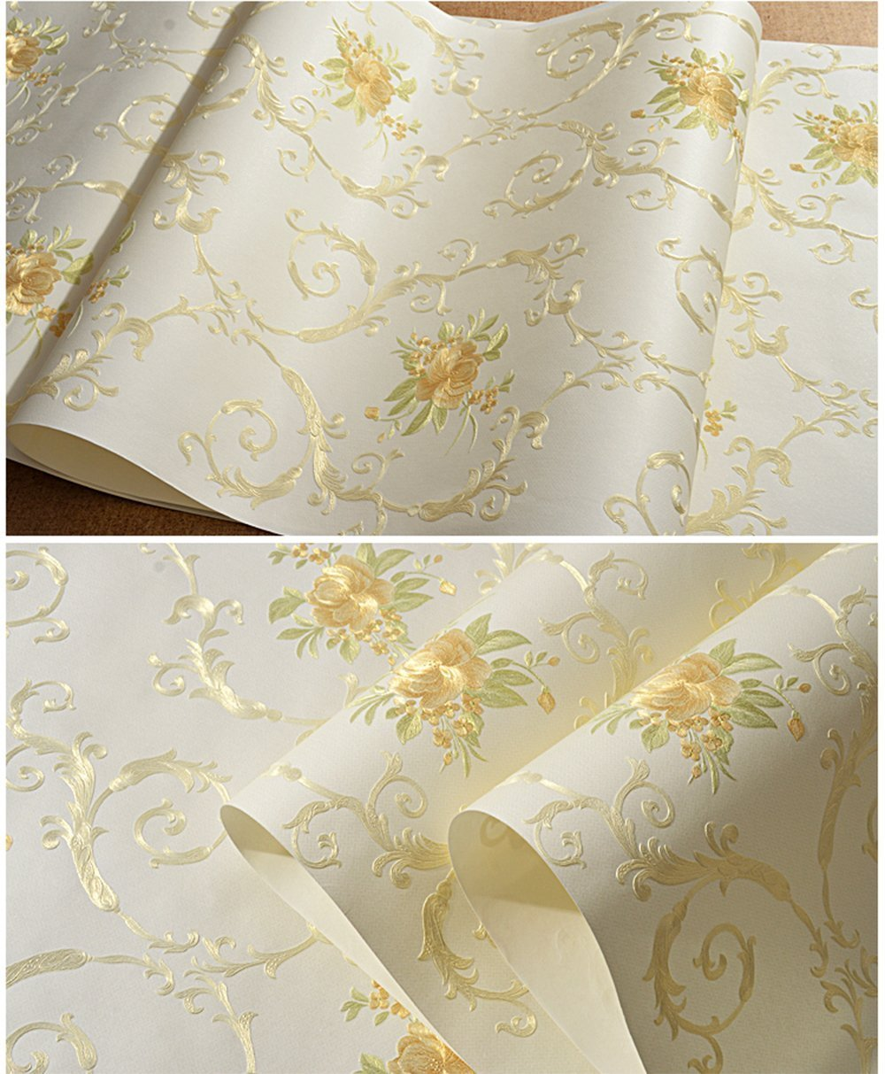 Non-Woven Temporary Self Adhesive Removable Wallpaper Luxury Embossed Floral Mural Wallpaper Stick and Peel Roll 20.83 Inches by 9.8 Feet by Glow4u (Image #3)