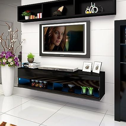 Mueble de salón LED moderno, blanco, con 2 cajones para televisor, acabado brillante, color negro 180 x 42 x 30CM negro: Amazon.es: Electrónica