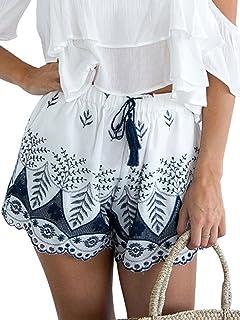 ec92f131883b Missy Chilli Damen Sommer Shorts Vintage High Waist Baumwolle Zipper Tie up  Kurz Beach Shorts Pants