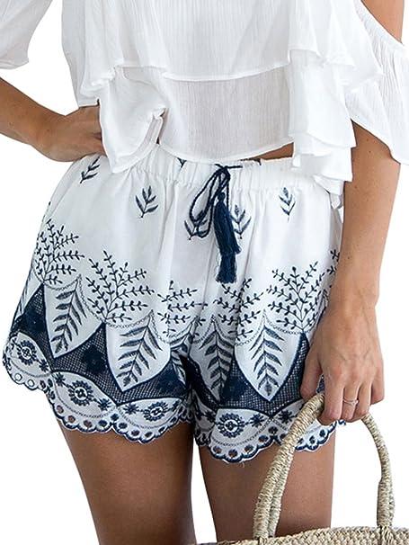 48572ead794 Simplee Apparel Women s Boho Embroidered Tassel Drawstring Cotton Beach  Shorts White
