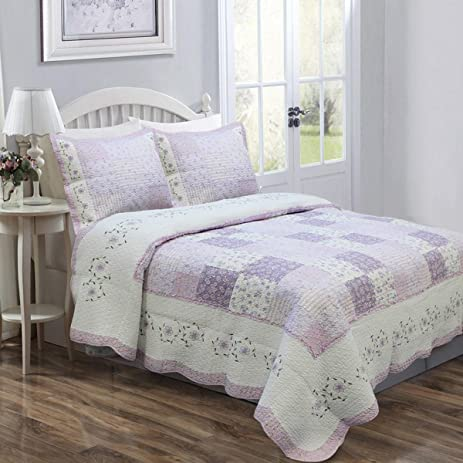 3 Piece Beautiful Purple White Grey Patchwork Pattern Full Queen Quilt SetFloral Square Patterned