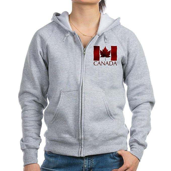 CafePress Mujer Canadá sudadera con capucha y cremallera Hoja de arce canadiense sudadera con capucha para mujer sudadera con capucha y cremallera: ...