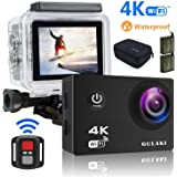 "GULAKI Ultra HD 2.0"" 170° LCD Screen Wide-Angle 4K WiFi Sports Camera Waterproof Cameras with Sony Sensor - 2 x 1050mAh PC Batteries and 2.4GHz Remote Accessories Kits"