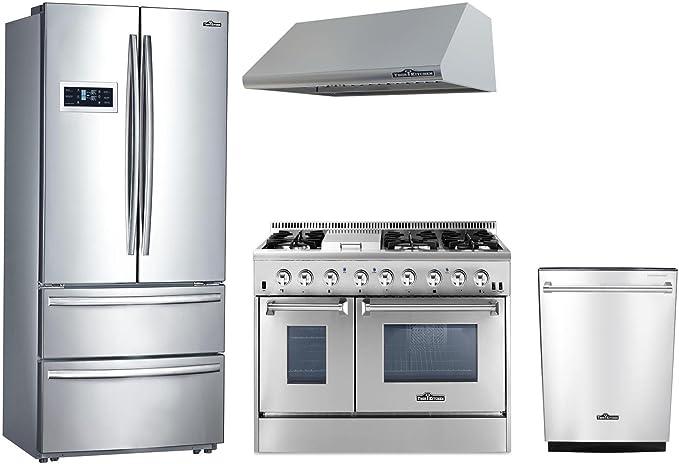 thor kitchen 4 piece stainless steel kitchen package with hrf3601f 36 french door refrigerator - Thor Kitchen