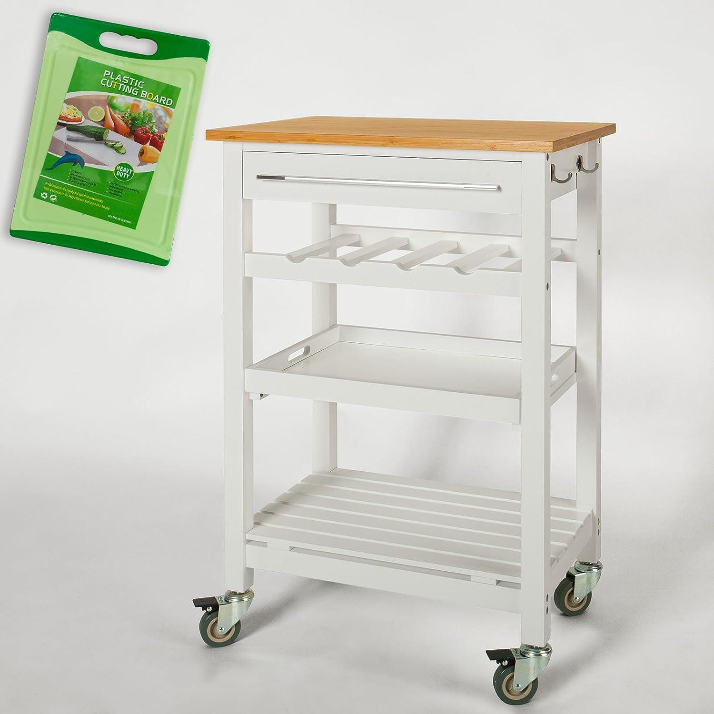 SoBuy FKW16-WN Desserte de cuisine À roulettes - Chariot de service roulant - Meuble de rangement L58xH90xP40cm + un