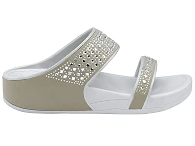99ff92a541fad Image Unavailable. Image not available for. Colour  Ladies DLP507 Dunlop  Low Wedge Fit Flip Flop Peep Toe Slip On Double Strap Crystal Sandals