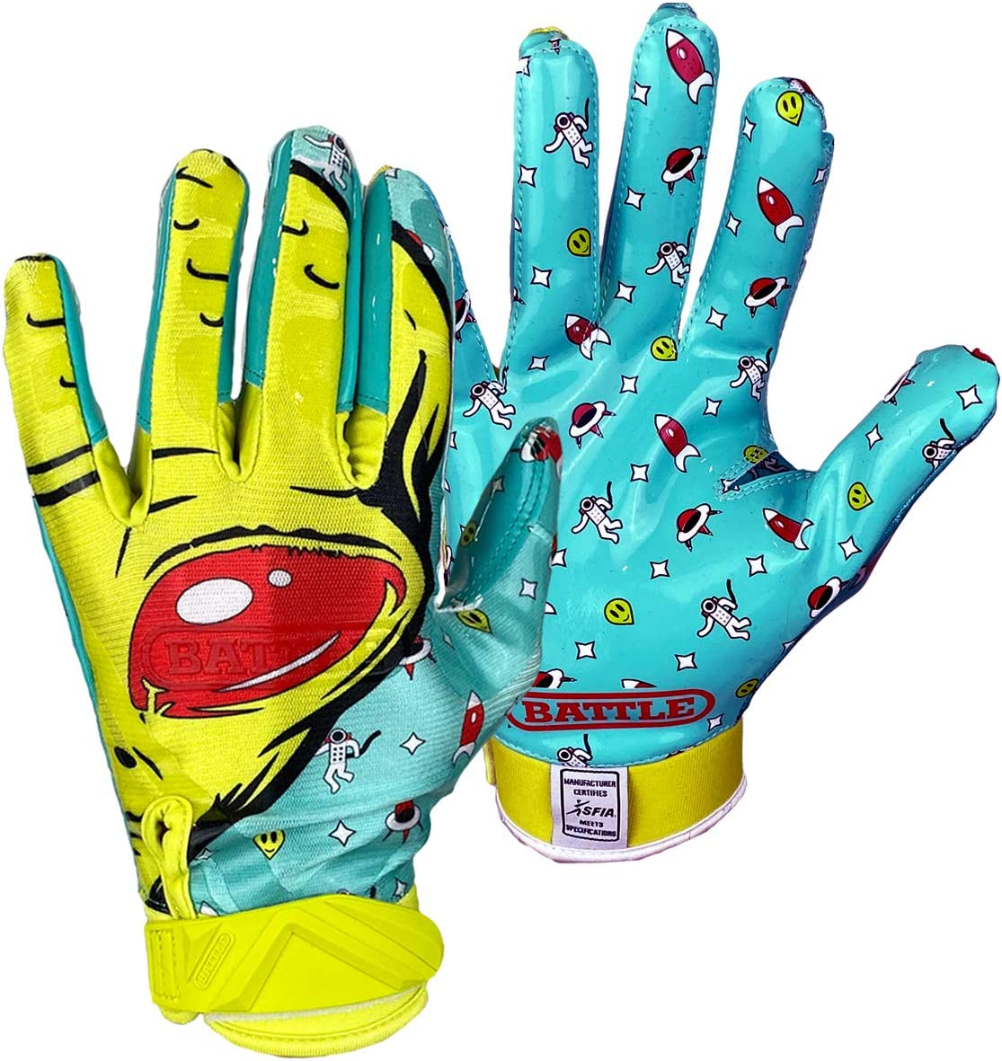 2020 Battle Sports Men/'s Nightmare Purge Neon Cloaked Football Receivers Gloves