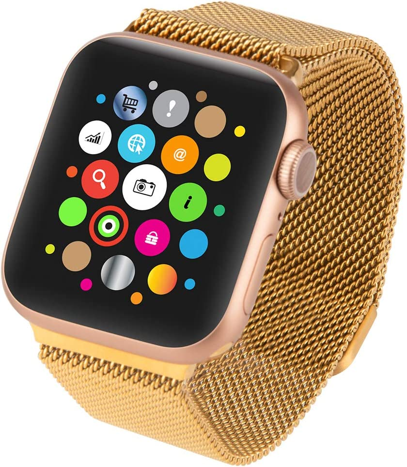 Goospery Steel Mesh Magnetic Band Compatible with Apple Watch Bands 38mm 40mm 42mm 44mm, 38MLB-GD