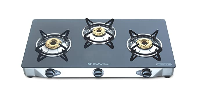 Bajaj CGX3, 3-Burner Stainless Steel Glass, ISI Certified, Gas Stove (Black)