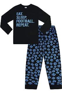 Boys Eat Sleep Football Repeat Long Cotton Pyjamas