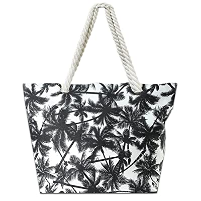 68d623cd91f4 Lizimandu Beach Bag Canvas Tote Bag With Inner Zipper Pocket - Tote with  Rope Handles lovely