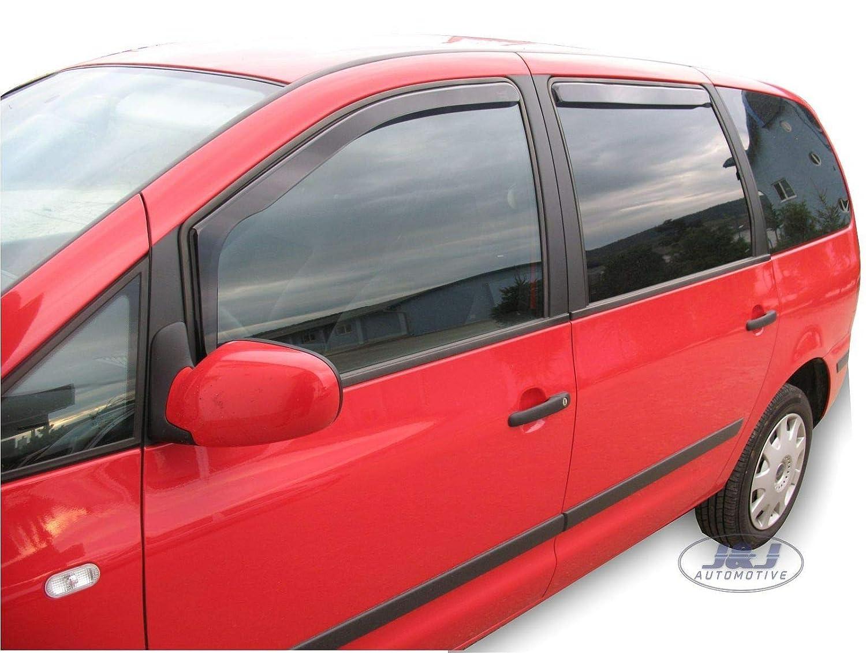 J/&J AUTOMOTIVE Deflecteurs dair d/éflecteurs de Vent Compatible avec Seat Alhambra 1996-2010 4 pi/èces