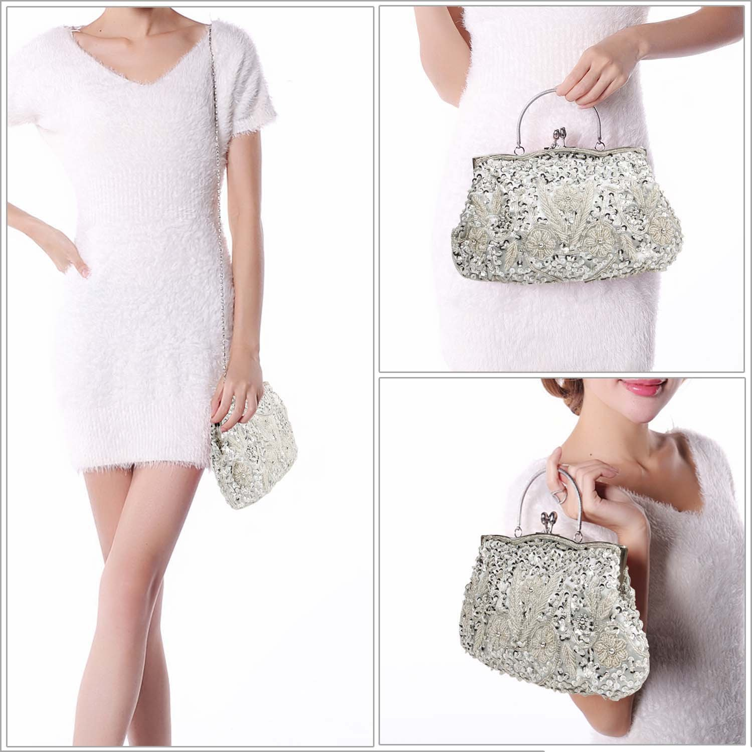 BMC Silver Beaded Sequin Design Metal Frame Kissing Lock Satin Clasp Interior Evening Clutch - Exuding Eloquence Collection by Bundle Monster (Image #3)