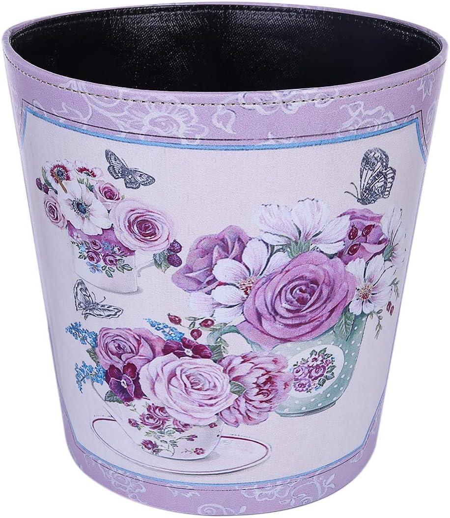 Batop Papierkorb 10L Wasserdicht PU Leder Vintage Papierkorb M/ülleimer mit Blume Muster Dekorativ Papierkorb f/ür B/üro Wohnzimmer Schlafzimmer