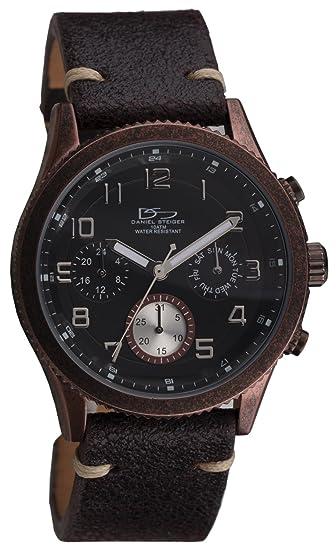 Daniel Steiger Olympia envejecido negro reloj – estilo antiguo acabado erosionado – Precisión movimiento de cuarzo