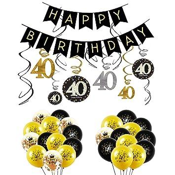 INTVN 40 Decoración para Fiestas de Cumpleaños en Negro y Dorado, 40 Cumpleaños Pancarta, 40 cumpleaños Colgante remolinos y 40 Cumpleaños Globos de ...
