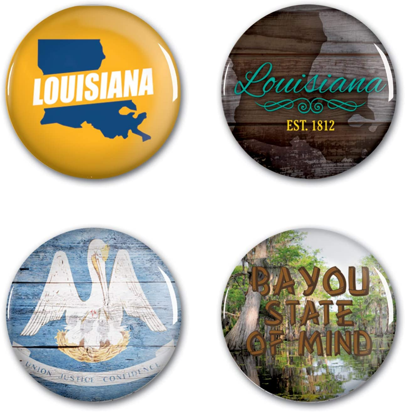 NA Multi WinCraft Destination Louisiana State//Louisiana Button 4 Pack 1 1//4 RoundState//Louisiana Button 4 Pack 1 1//4 Round