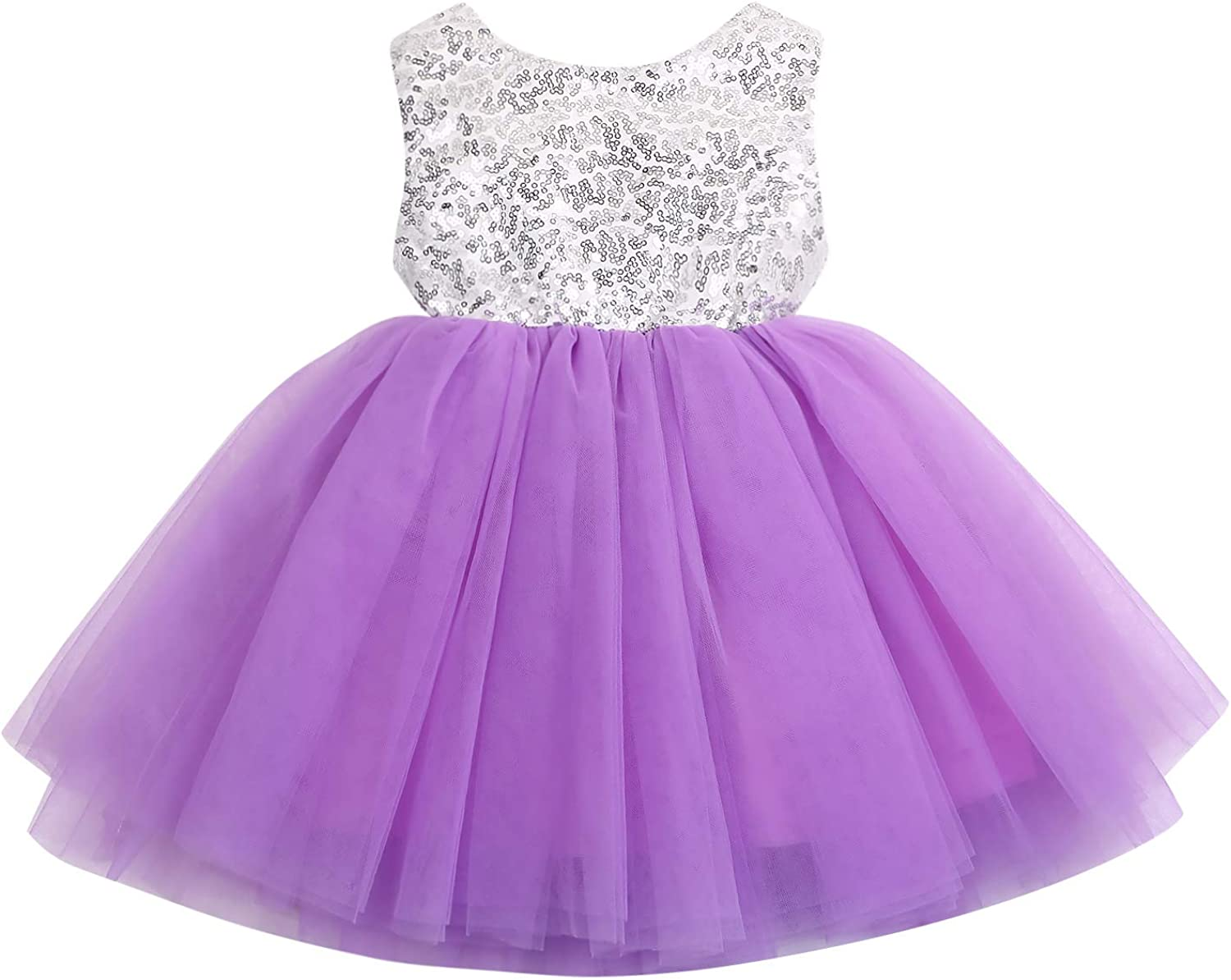 YOUNGER TREE Toddler Baby Girls Dress Sleeveless Sequins Party Dresses Princess Lace Tulle Tutu Dress