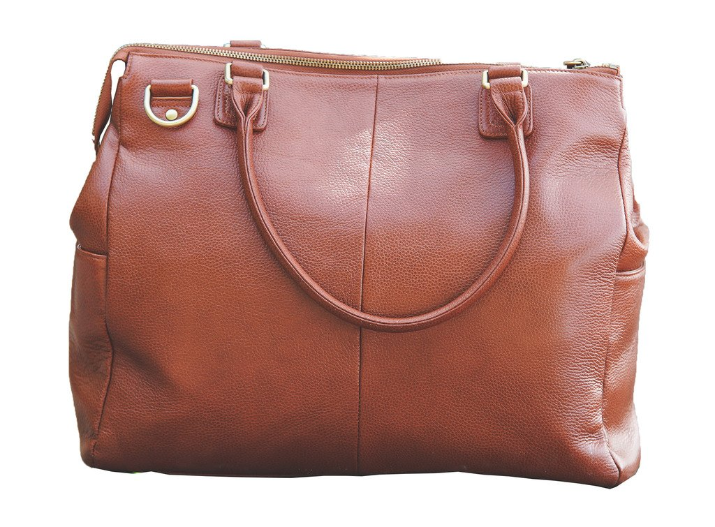 Oemi Leather Diaper Bag ~ 5 Interior Pockets ~ Wide, Removable Shoulder Strap - Brownstone