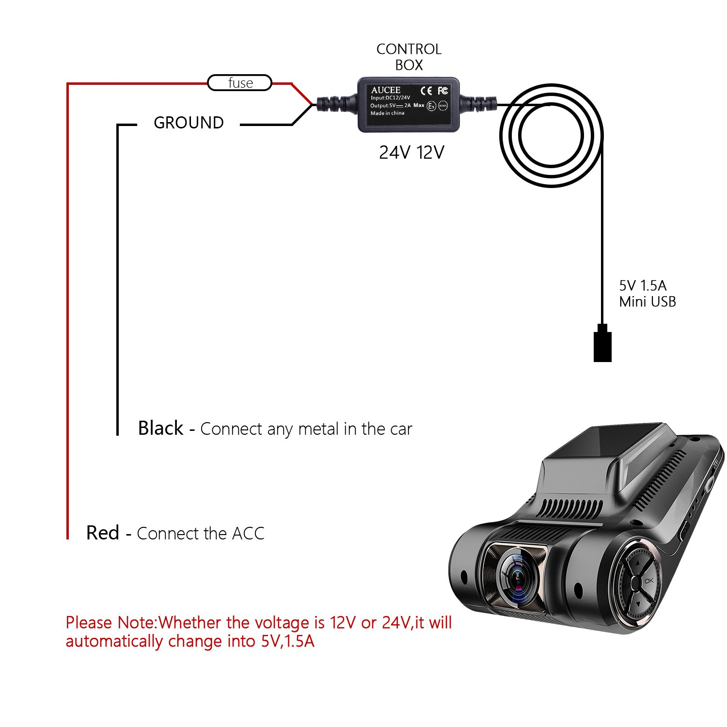 Aucee Dash Cam Hardwire Kit Mini Usb Portdc 12v 36v To 5v 2a Max Car Fuse Box Charger Cable With Fuselow Voltage Protection For Cameras