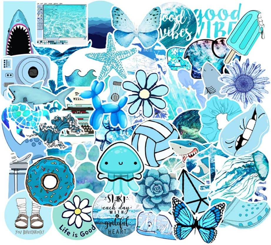 Various Funny and Cute Personalized Stickers Water Bottle Skateboards 50PCS Waterproof Stickers for Decorating Laptops Blue Fresh Style Refrigerator Guitar