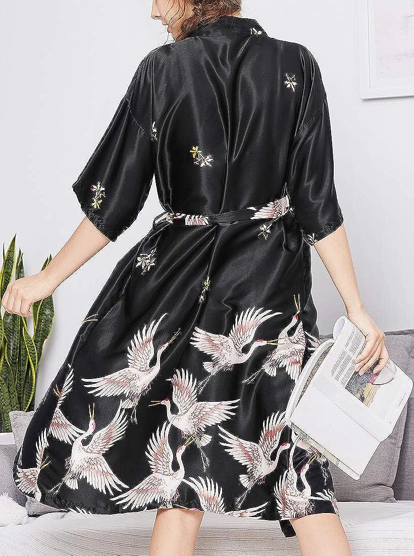 Chaos World Femme Kimono Japonais Robe de Chambre en Soie Longue Robe de Nuit Manche 1//2 Demoiselle dhonneur Pyjama /ét/é