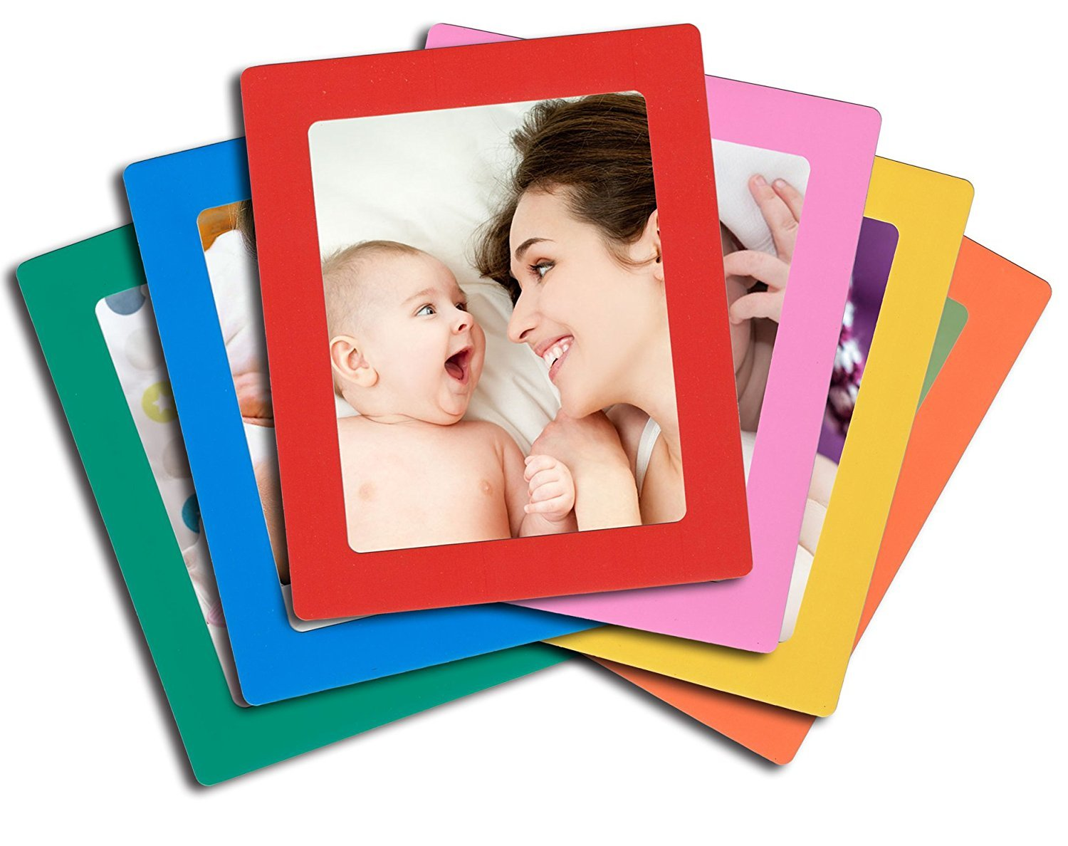 Lubber 6-Pack Magnetic Picture Frames for Refrigerator 5x7 inch Colorful Photo Note Holder by Lubber