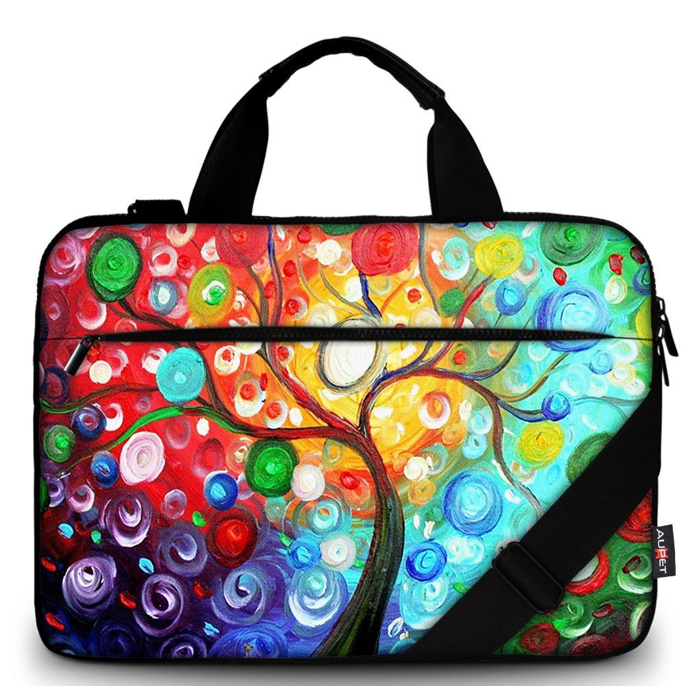 AUPET 17 17.1'' 17.5'' 17.6'' Laptop Bag Sleeve/Carrying Bag With Extra Pocket and Removable Shoulder Strap Messenger Bag Briefcase For 16/17/17.3/17.4 Laptop/Tablet (Colorful Tree)