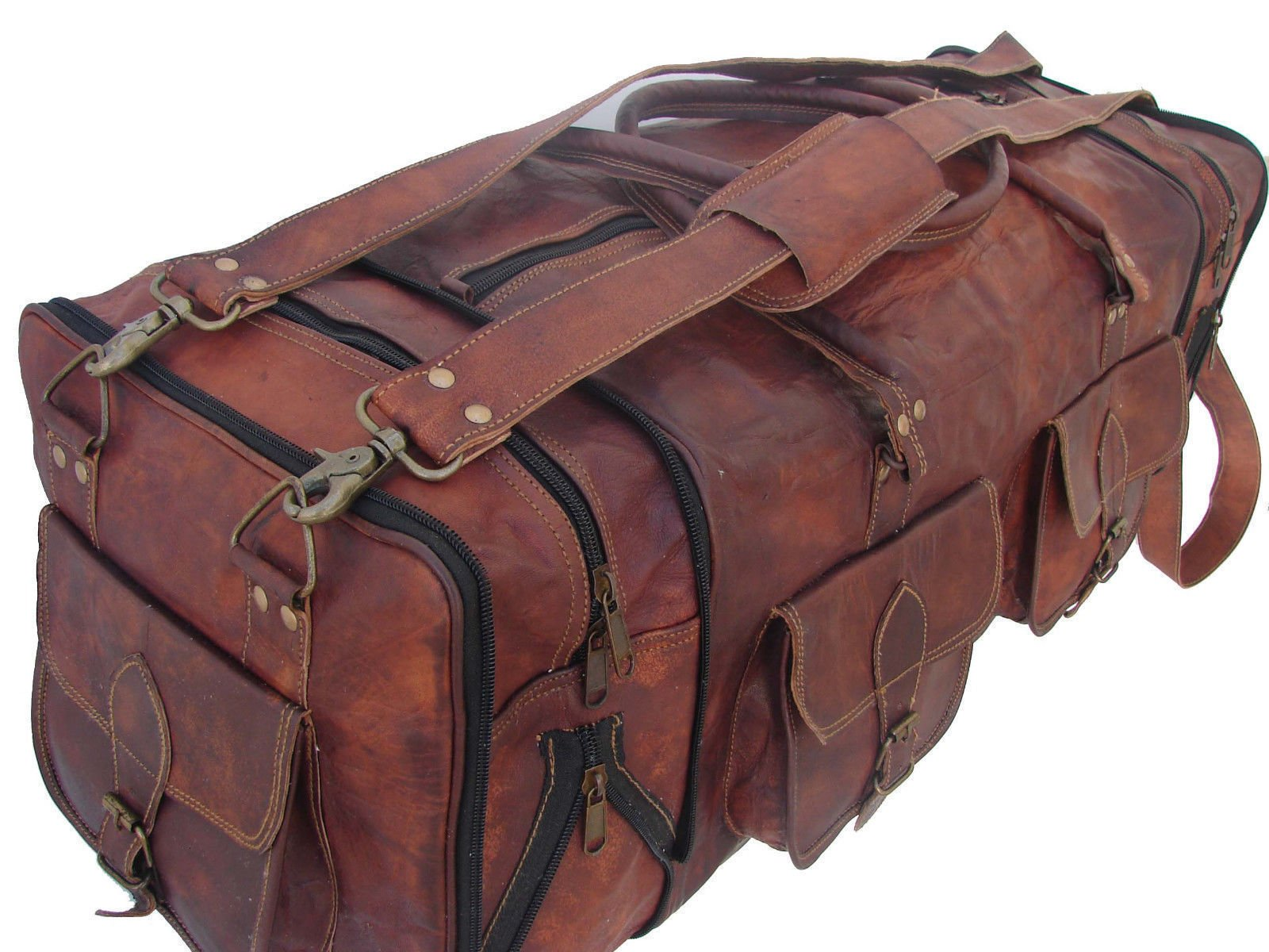 Leather Native 30'' Men's Genuine Leather luggage gym weekend overnight duffle large vintage bag