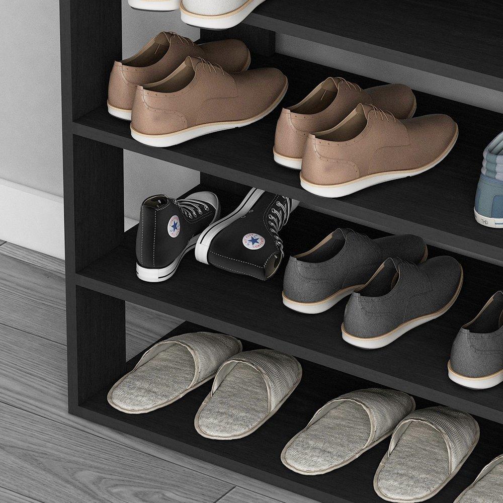 soges 29.5'' Shoe Rack 5 Tier Free Standing Wooden Shoe Storage Shelf Shoe Organizer, Black L24-H by soges (Image #6)