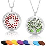 Mtlee 2 Pieces Aromatherapy Essential Oil Diffuser Necklace Locket Pendant Stainless Steel Perfume Necklace with 24 Inch Chain and 10 Refill Pads (Tree, Flower)