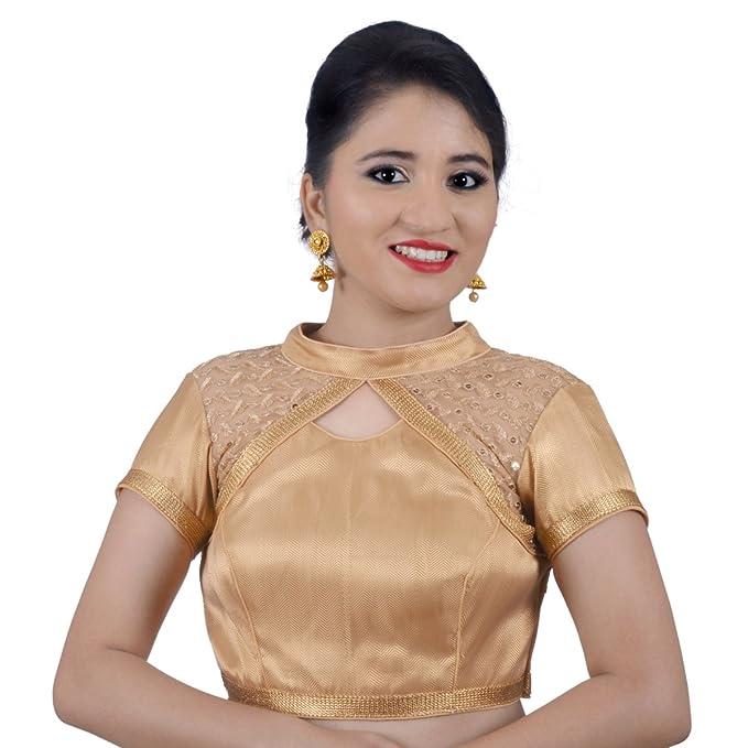 8a9ecf94e3a04 NAMI Womens Brocade Sequence High Neck Gold Back Open Padded Short Sleeves  Princess Cut Readymade Saree