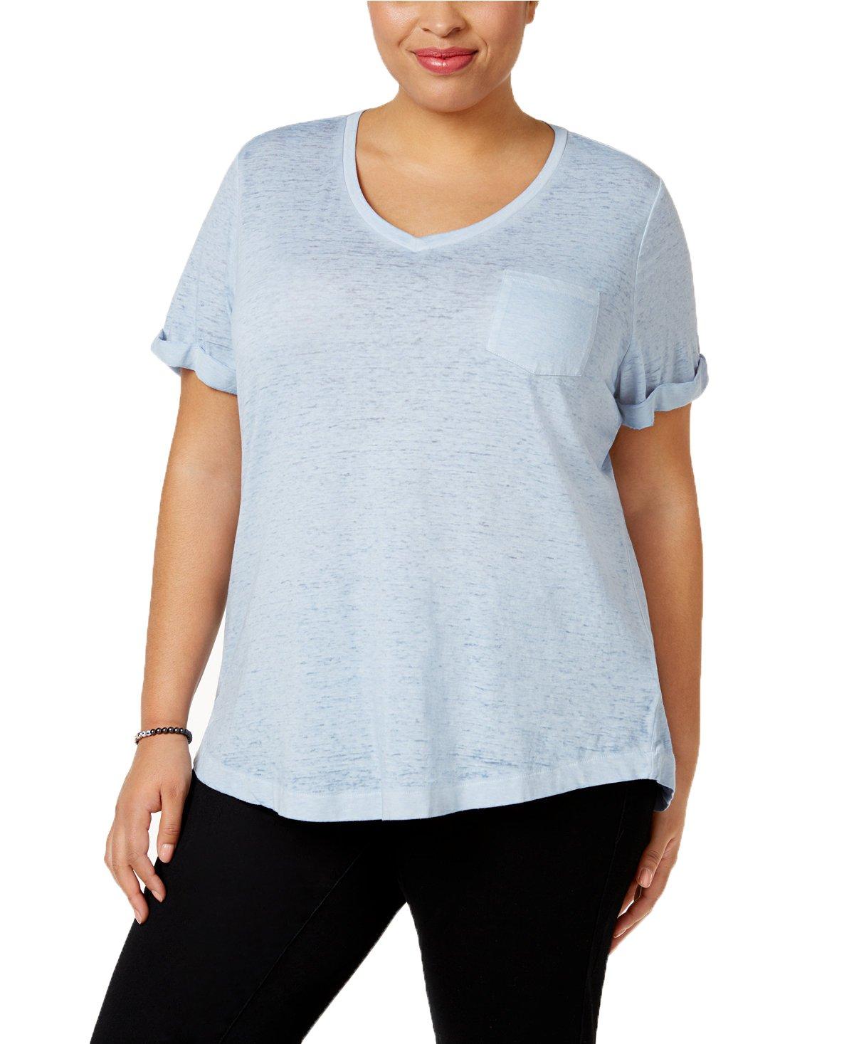 Style & Co. Womens Plus Burnout V-Neck T-Shirt Blue 1X