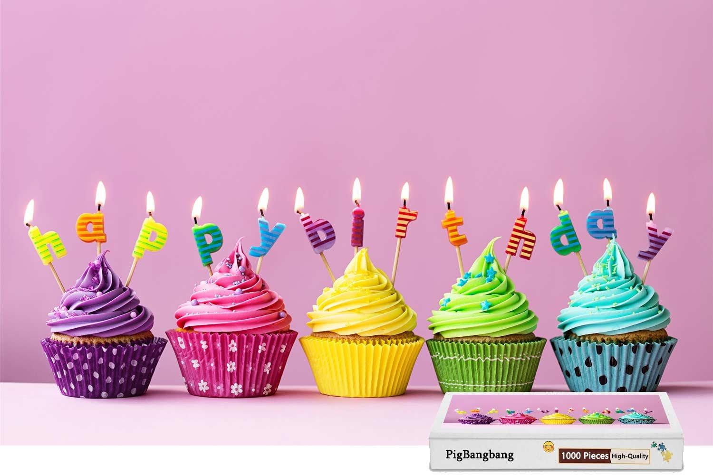 人気絶頂 pigbangbang、intellectiv B07CJ9P83C Games Photomosaic Jigsawパズル木製Aボックスで有名な絵画 – happy-birthday-cakes-cupcakes-candles – – 1000ピースジグソーパズル(29.5 Games X 19.6