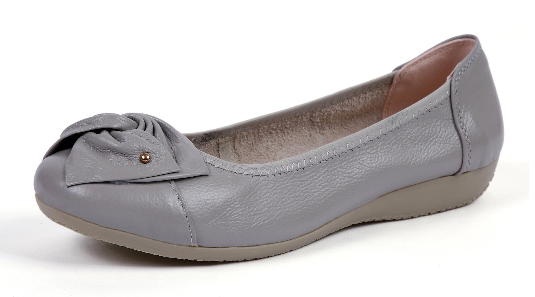 VenusCelia Women's Bows Dance Flat Shoe (7 M US,Grey)