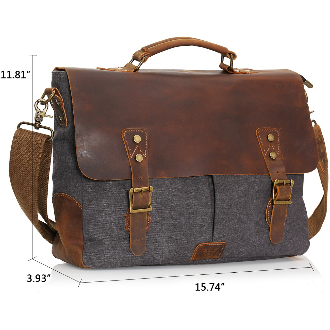 Wowbox Messenger Satchel Bag for Men and Women,Vintage Canvas Real Leather 14-inch Laptop Briefcase for Everday use 13 x10.5 x10.5 W H x 4.1 Vintage Canvas Real Leather 14-inch Laptop Briefcase for Everday use 13 Gray H L L x 4.1 W Gray